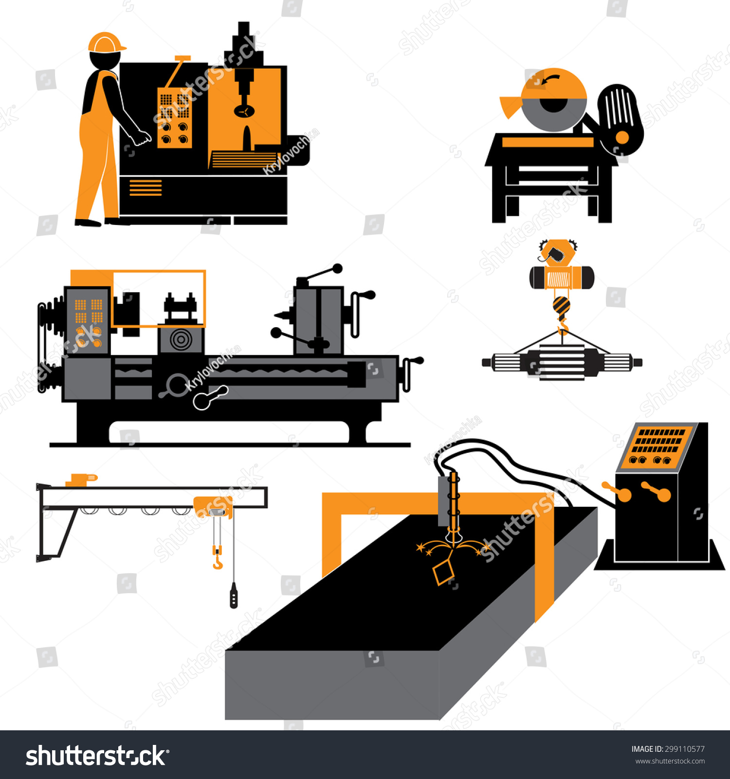 Machine Metal Industrial Operationmechanic Icon Stock Vector ...