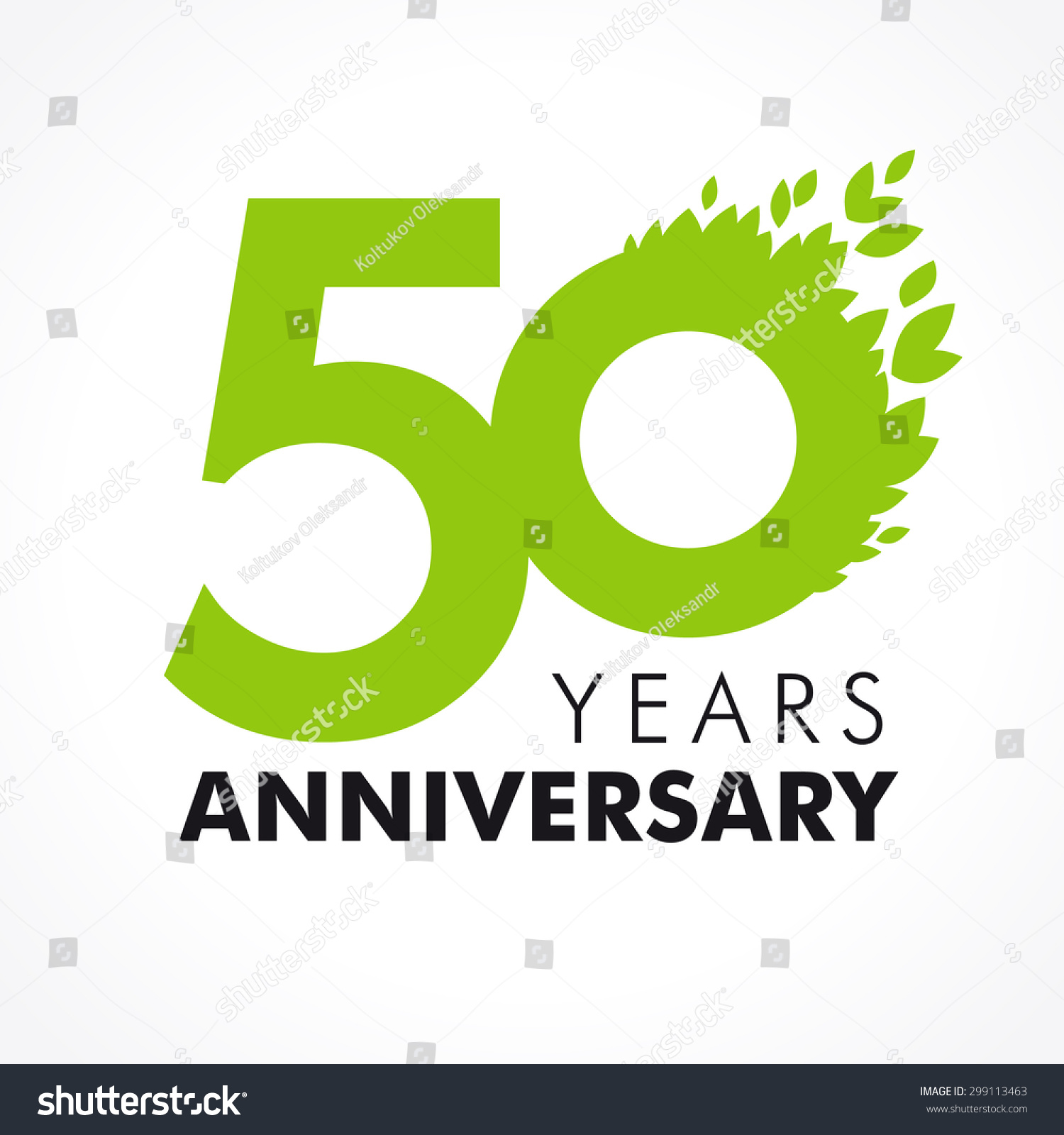 Template logo 50th anniversary as a number 5 with a green circle and leaves 50 anniversary leaves logo