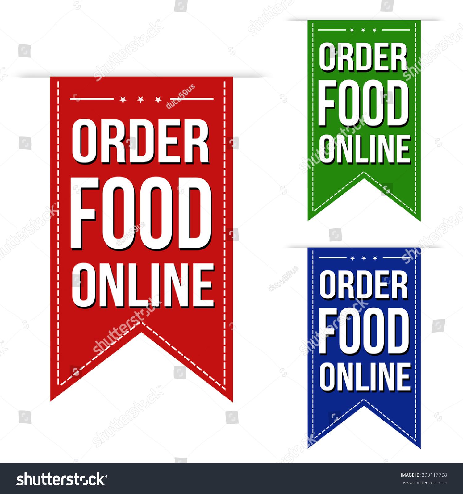 Order Food Online Banner Design Set Over A White ...
