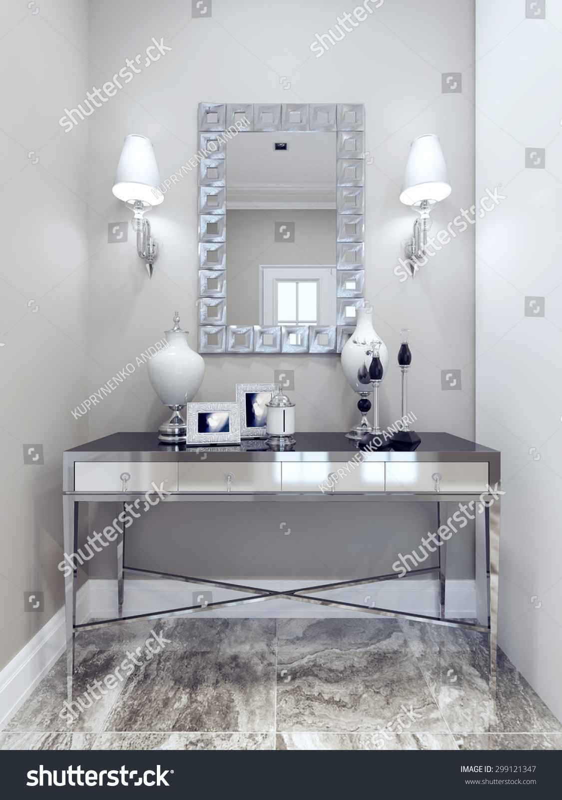 Design classic hall mirror decorative frame stock illustration mirror with decorative frame wall console marble floor dailygadgetfo Image collections