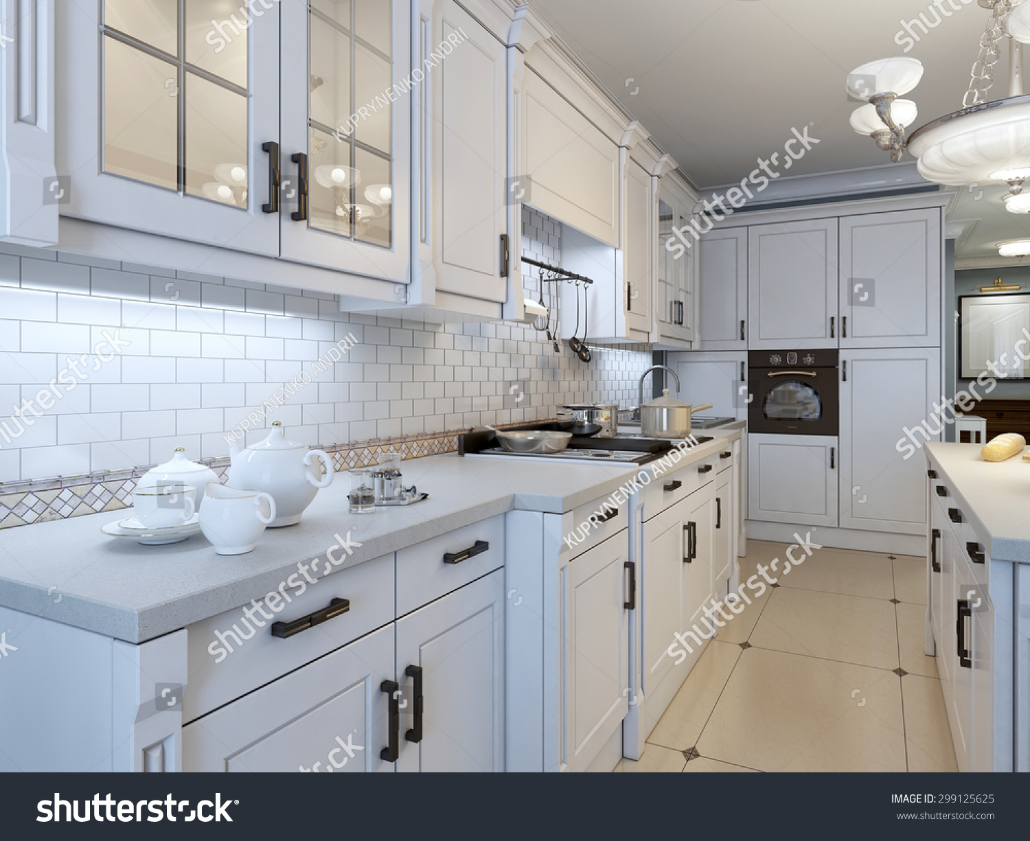 Art Deco Kitchen Kitchen Art Deco Trend 3d Render Stock Illustration 299125625
