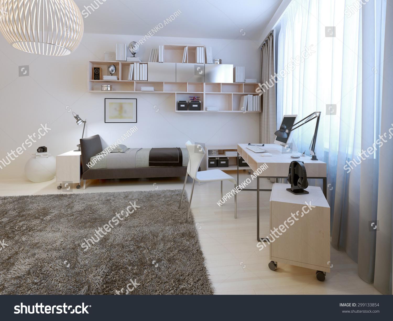 Teenage Room Minimalist Style Neat Bed Stock Illustration