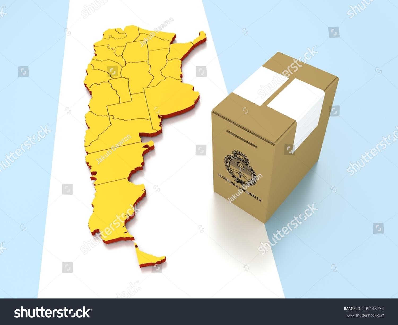 Contour Argentina Ballot Box Label Elecciones Stock Illustration - Argentina map meaning
