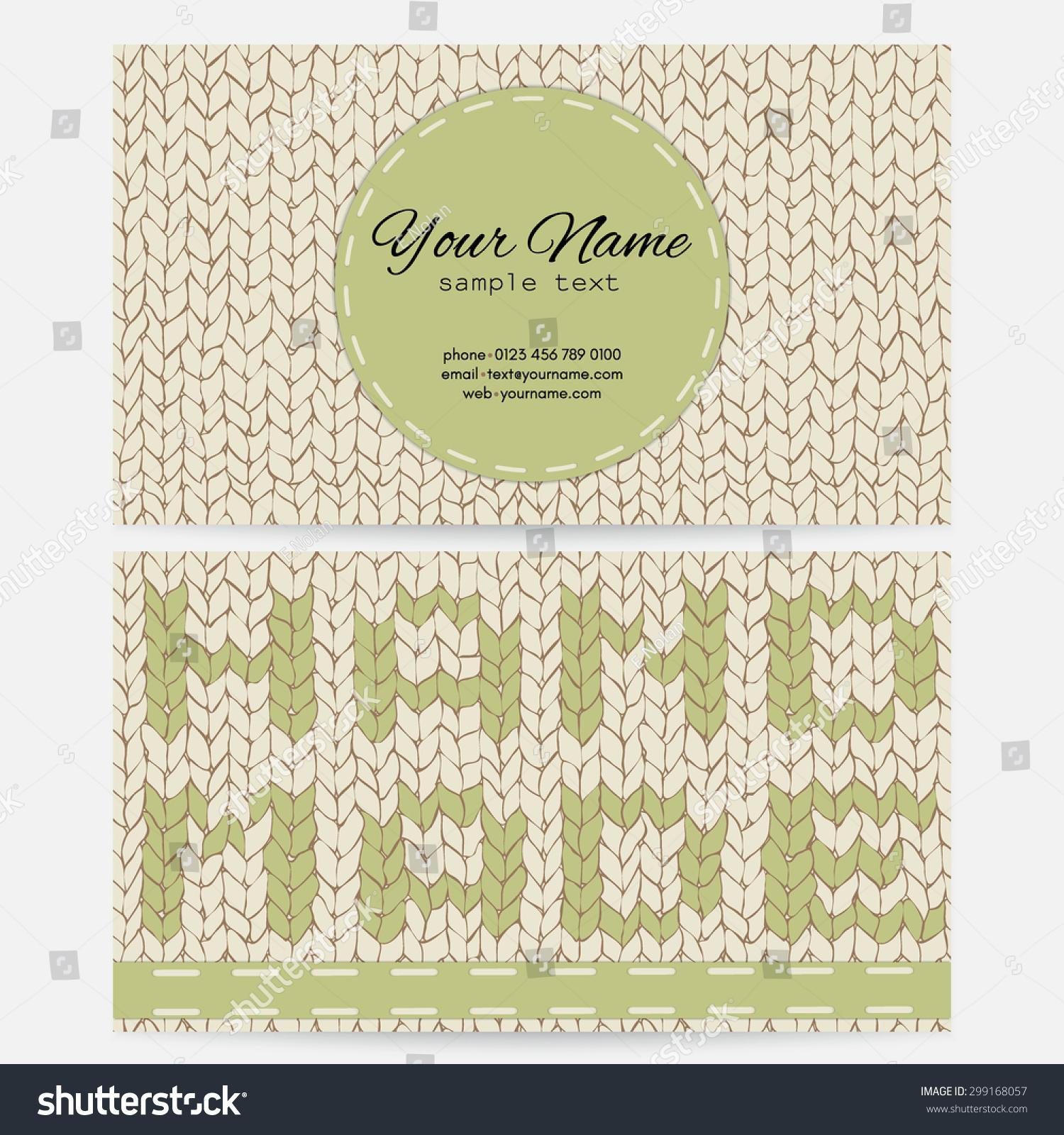 Business card style knitting handmade stock vector 2018 299168057 business card in the style of knitting handmade colourmoves