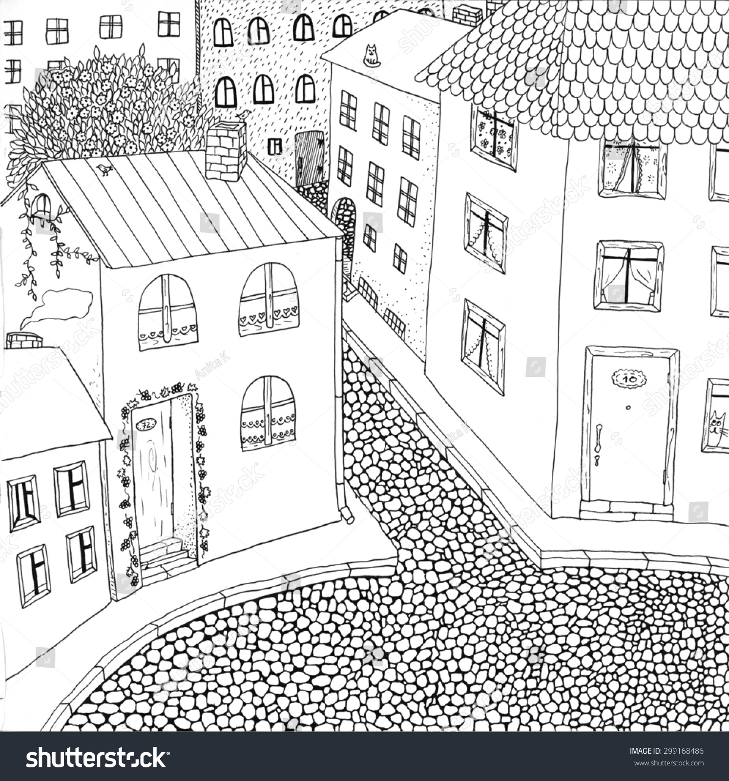 Coloring Page Old Town High Detailed Stock Illustration 299168486