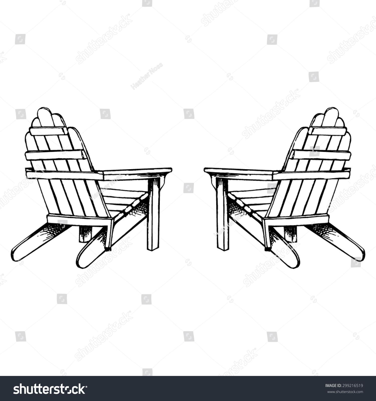 adirondack chairs hand sketch stock vector 299216519 shutterstock