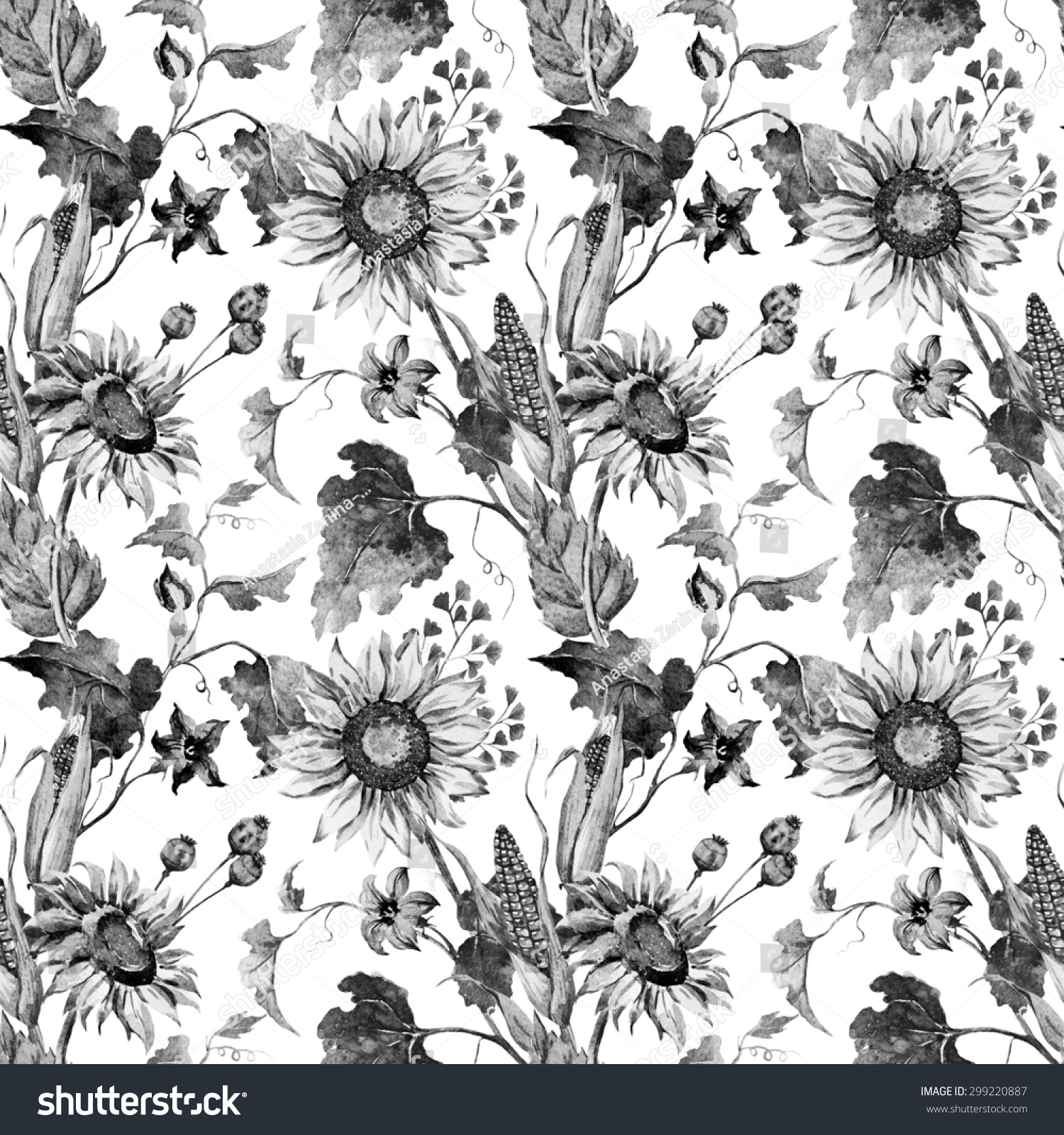 Watercolor Black And White Autumn Flowers Wallpaper Sunflower Corn Pumpkin Leaves Seamless Pattern