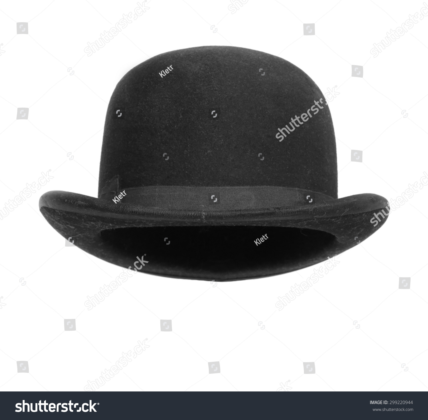 16d4eb340e9 Black Bowler Hat Isolated On White Stock Photo (Edit Now) 299220944 ...