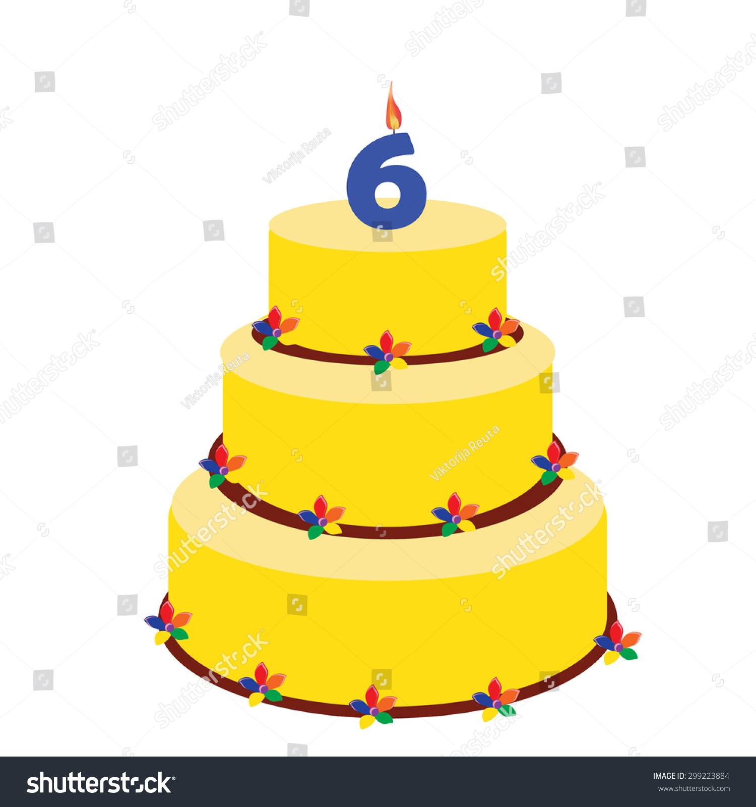 Birthday Cake With Candle Number Six On Top Sixth