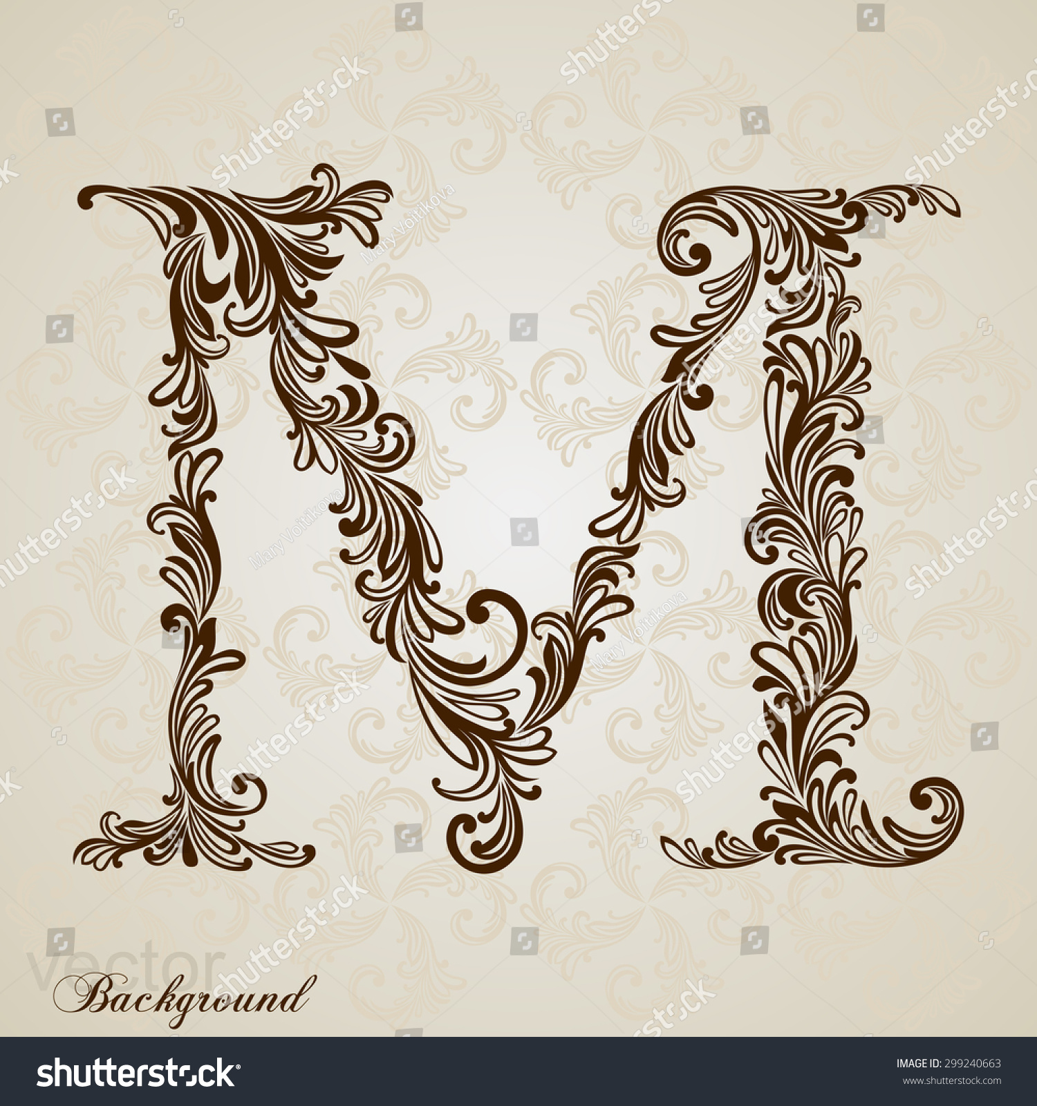 Poster design jobs online - Calligraphic Font Vintage Initials Letter M Vector Design M Letter