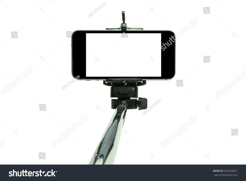 smart phone on a selfie stick shot in studio stock photo 299256677 shutterstock. Black Bedroom Furniture Sets. Home Design Ideas