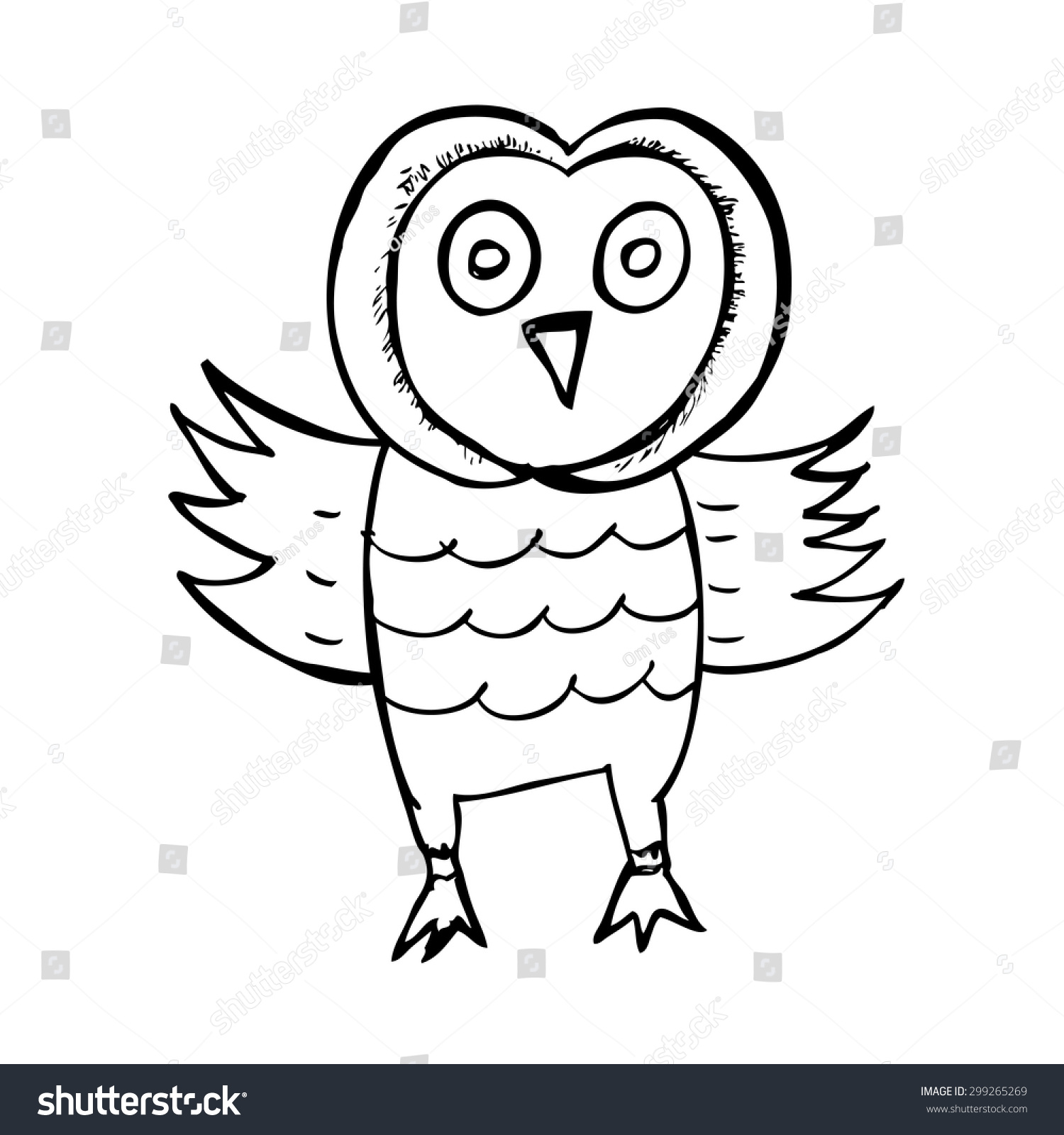hand draw sketch owl isolated on stock vector 299265269 shutterstock