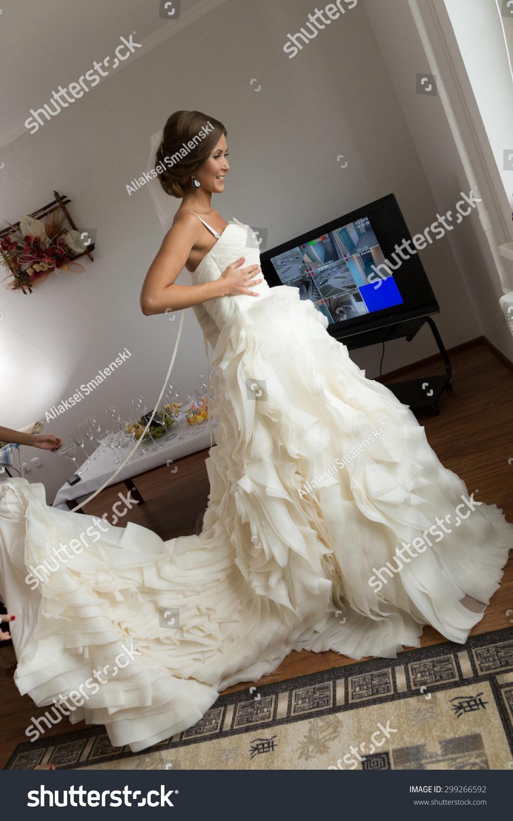 Bride Dressing Gown Bride Preparing Wedding Stock Photo Edit Now 299266592,Beach Flowy Sleeveless Beach Flowy Wedding Dresses