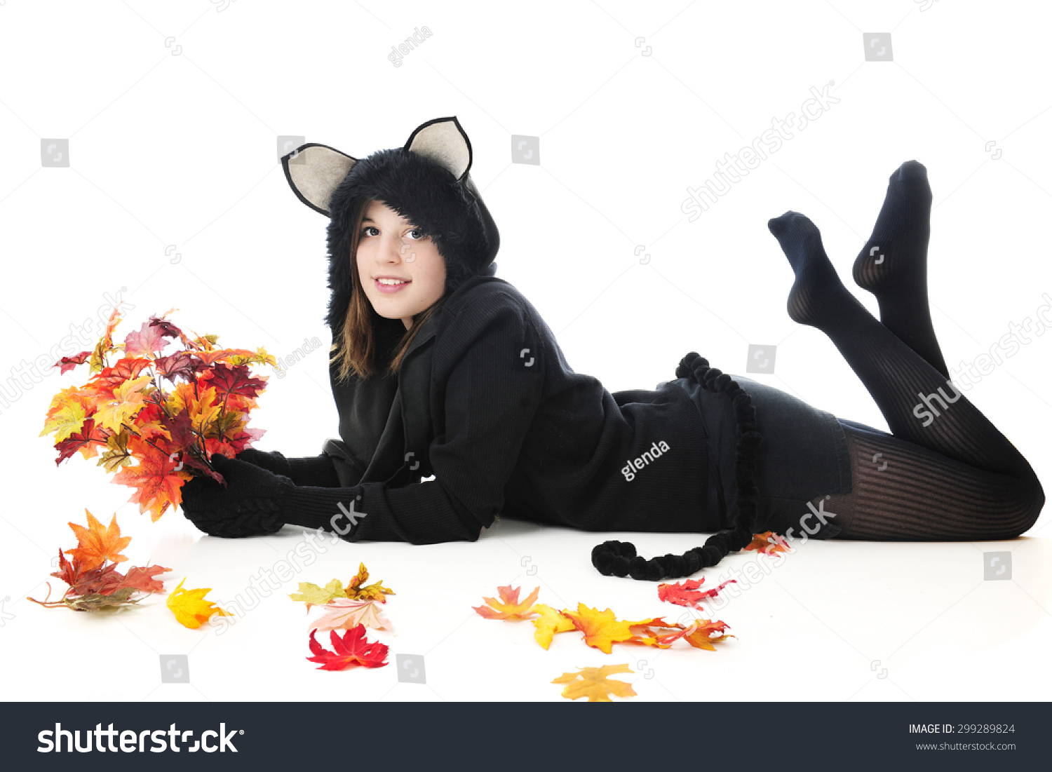Beautiful Teen Girl Black Cat Outfit Stock Photo Edit Now