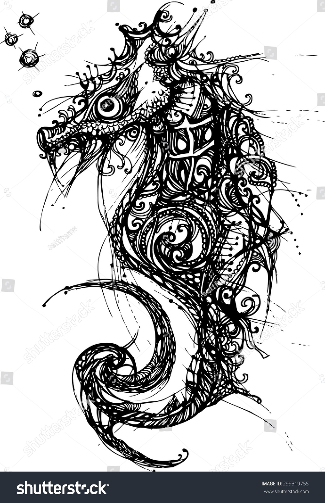 zentangle design of the sea horse hand draw for tattoo line art collection