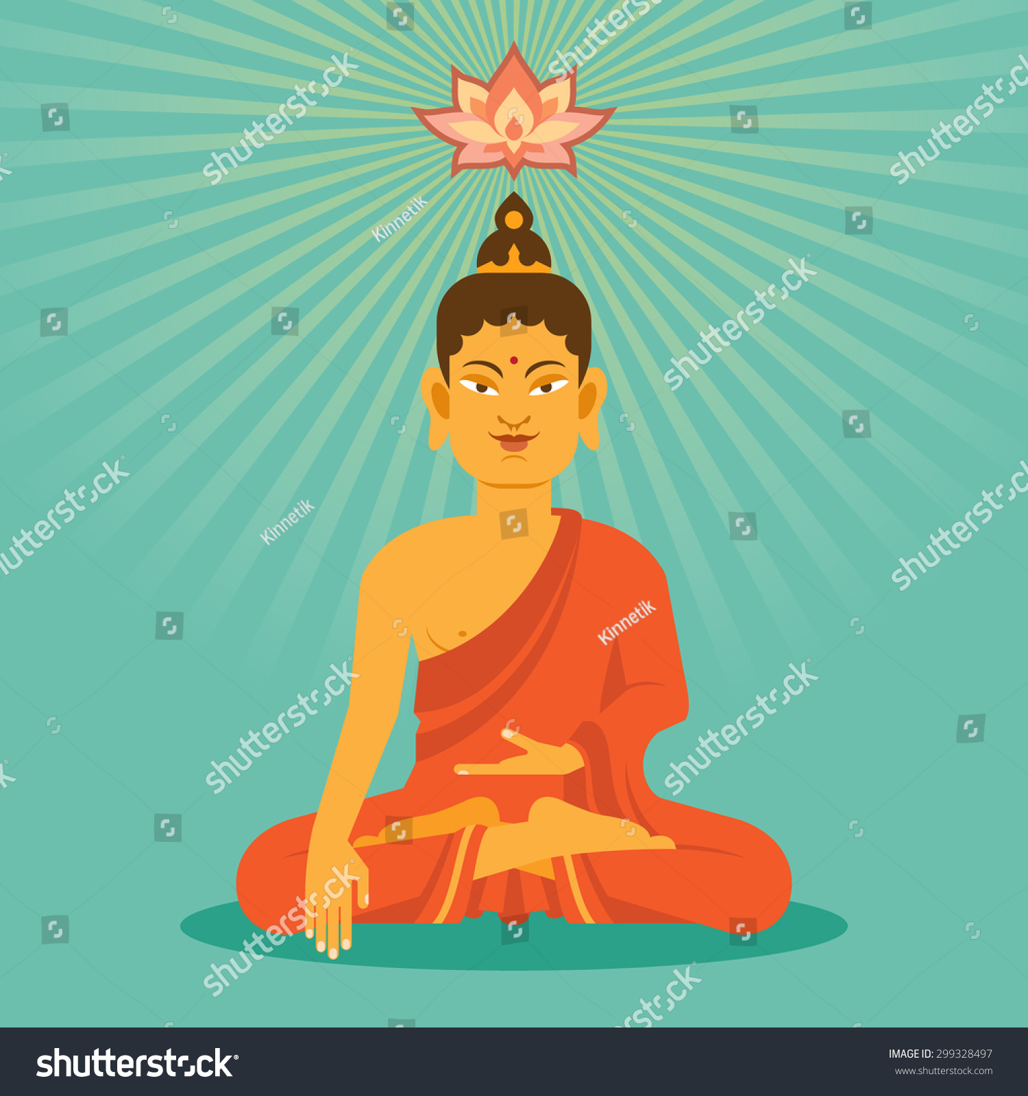 Sitting Meditation Buddha Lotus Flower Flat Stock Vector 299328497