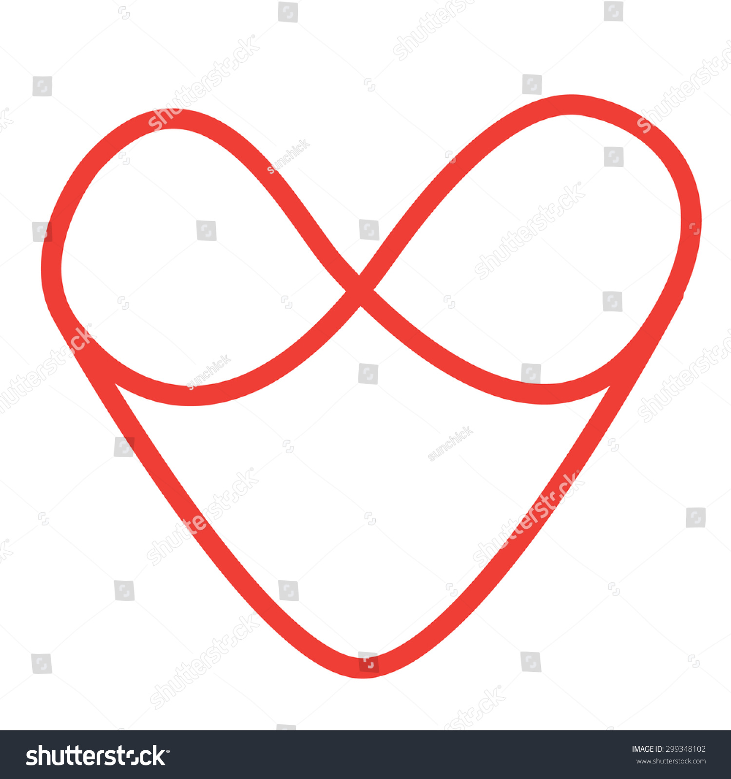 Handwritten red infinity symbol heart stock vector 299348102 handwritten red infinity symbol and heart buycottarizona Gallery