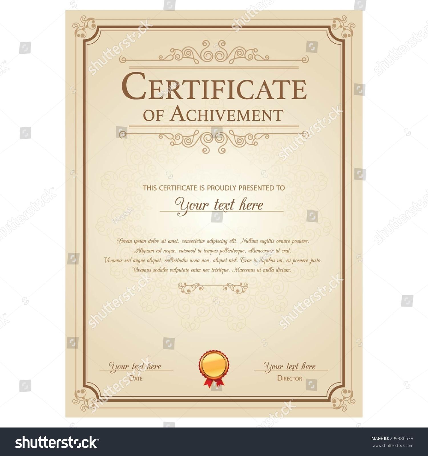 gold certificate template