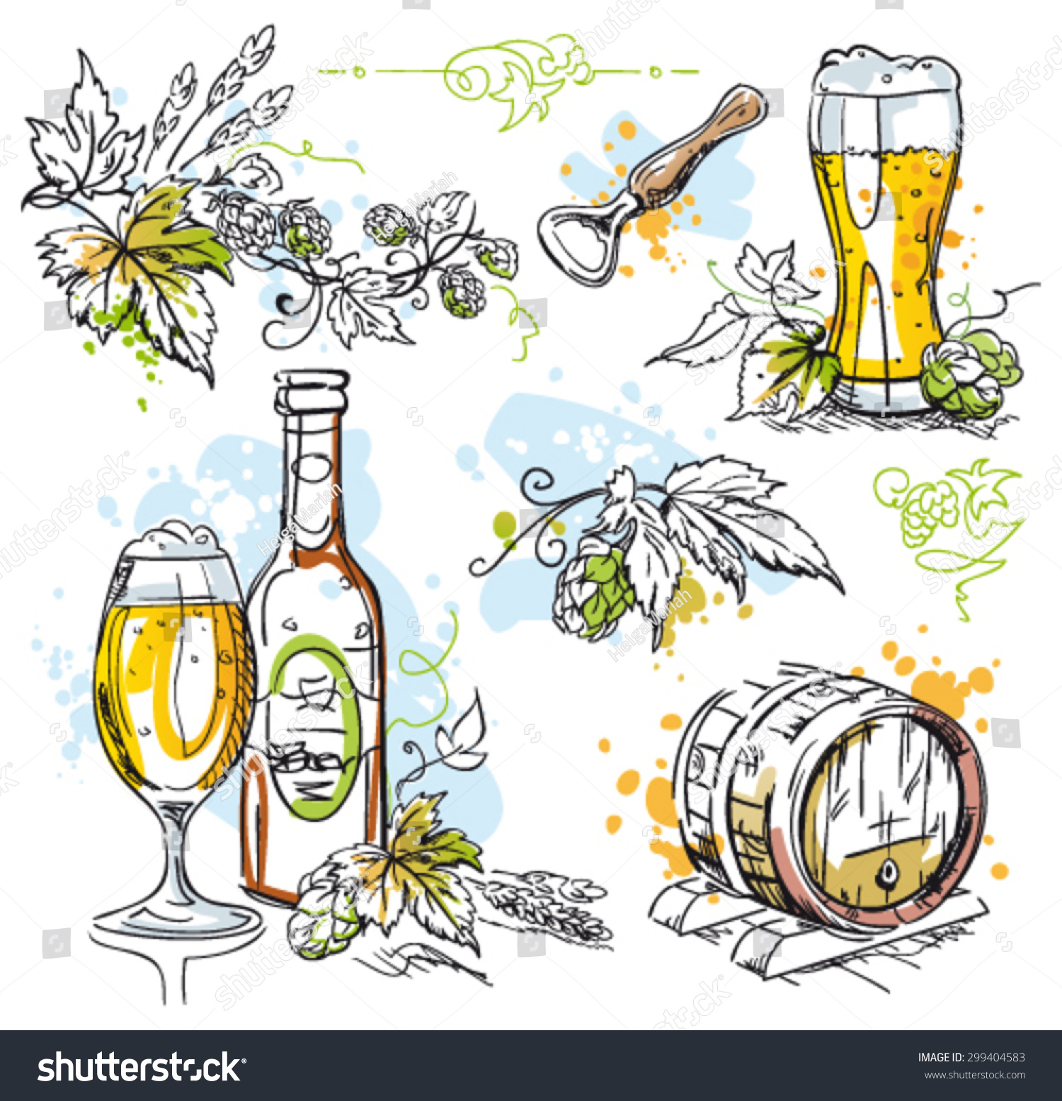 Hops For Decoration Beer Hops Vector Decoration Isolated On Stock Vector 299404583