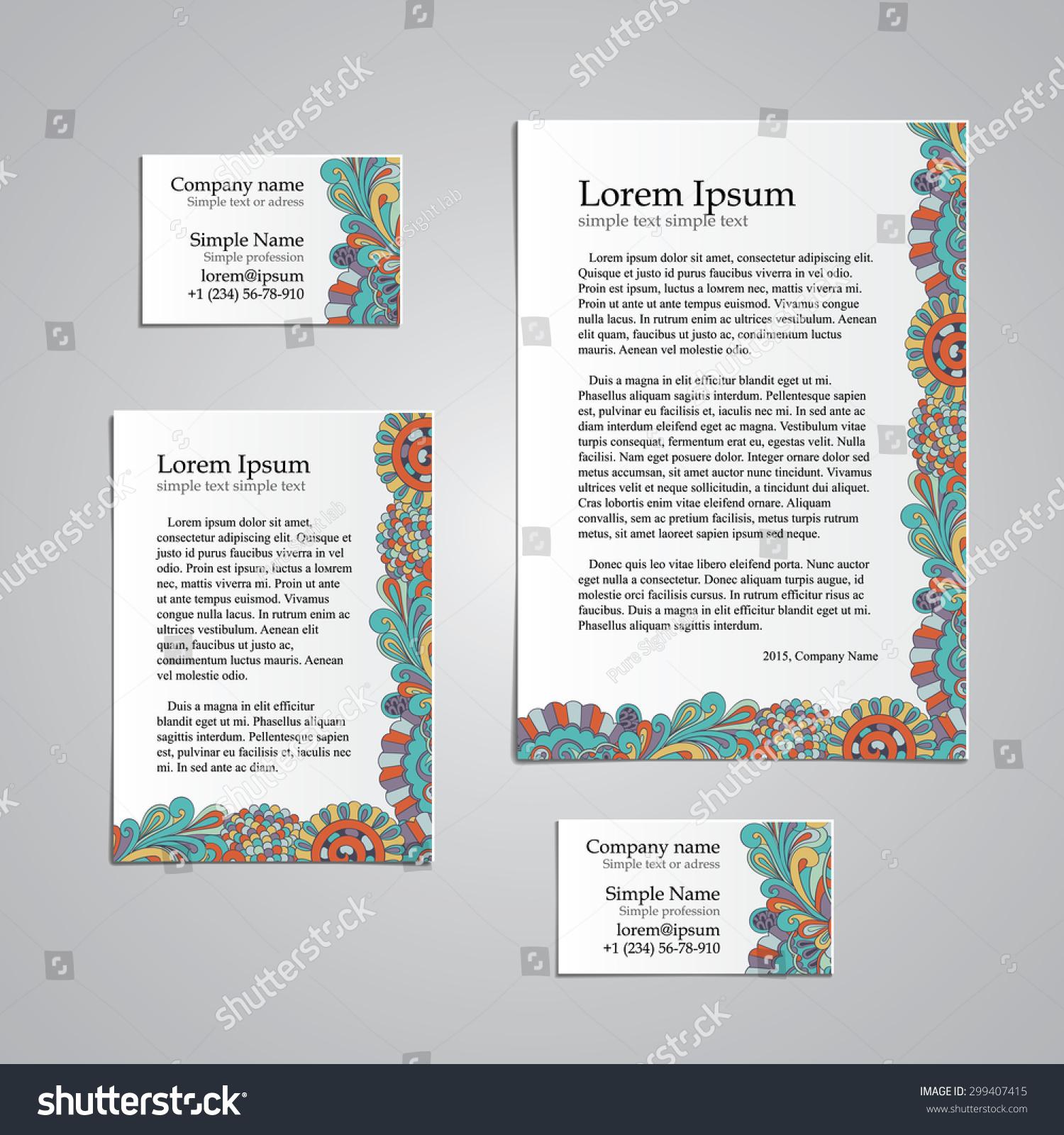 Tracery Card Business Hina Mehndi Design Stock Vector 299407415 ...