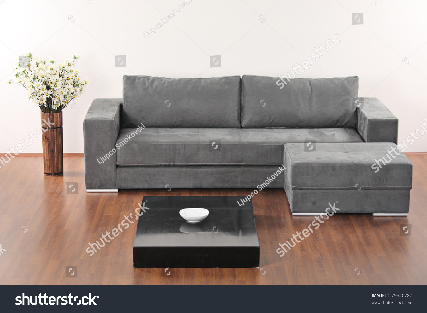A Modern Minimalist Living Room With Grey Furniture Stock Photo 29940787 Shutterstock