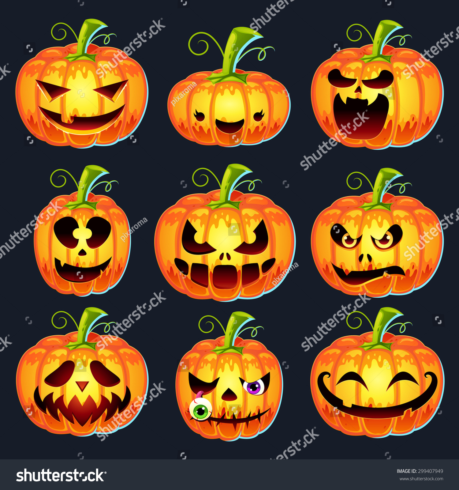 set pumpkins halloween different faces happy stock vector