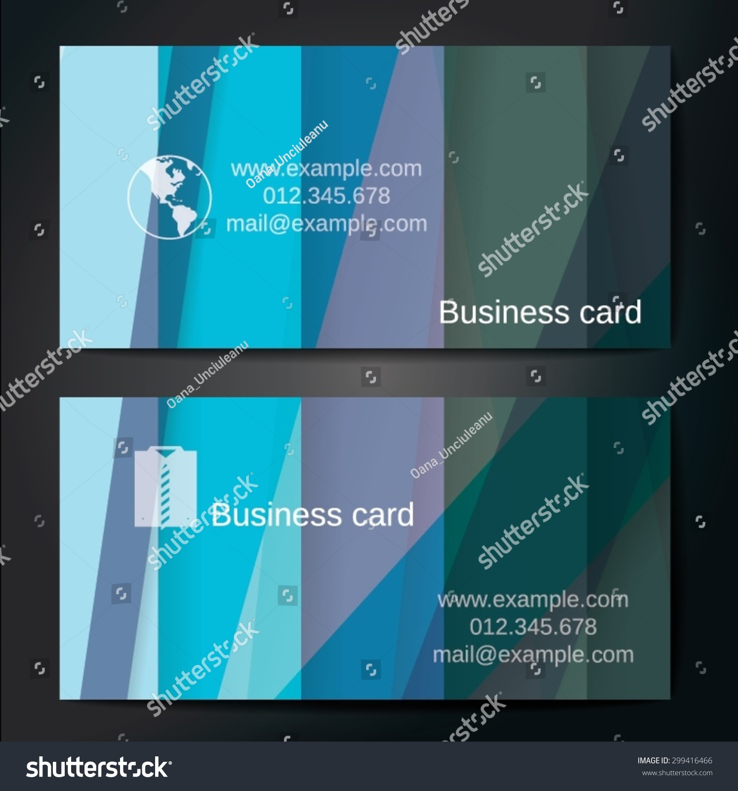 stylish business cards colorful straight stripes stock vector
