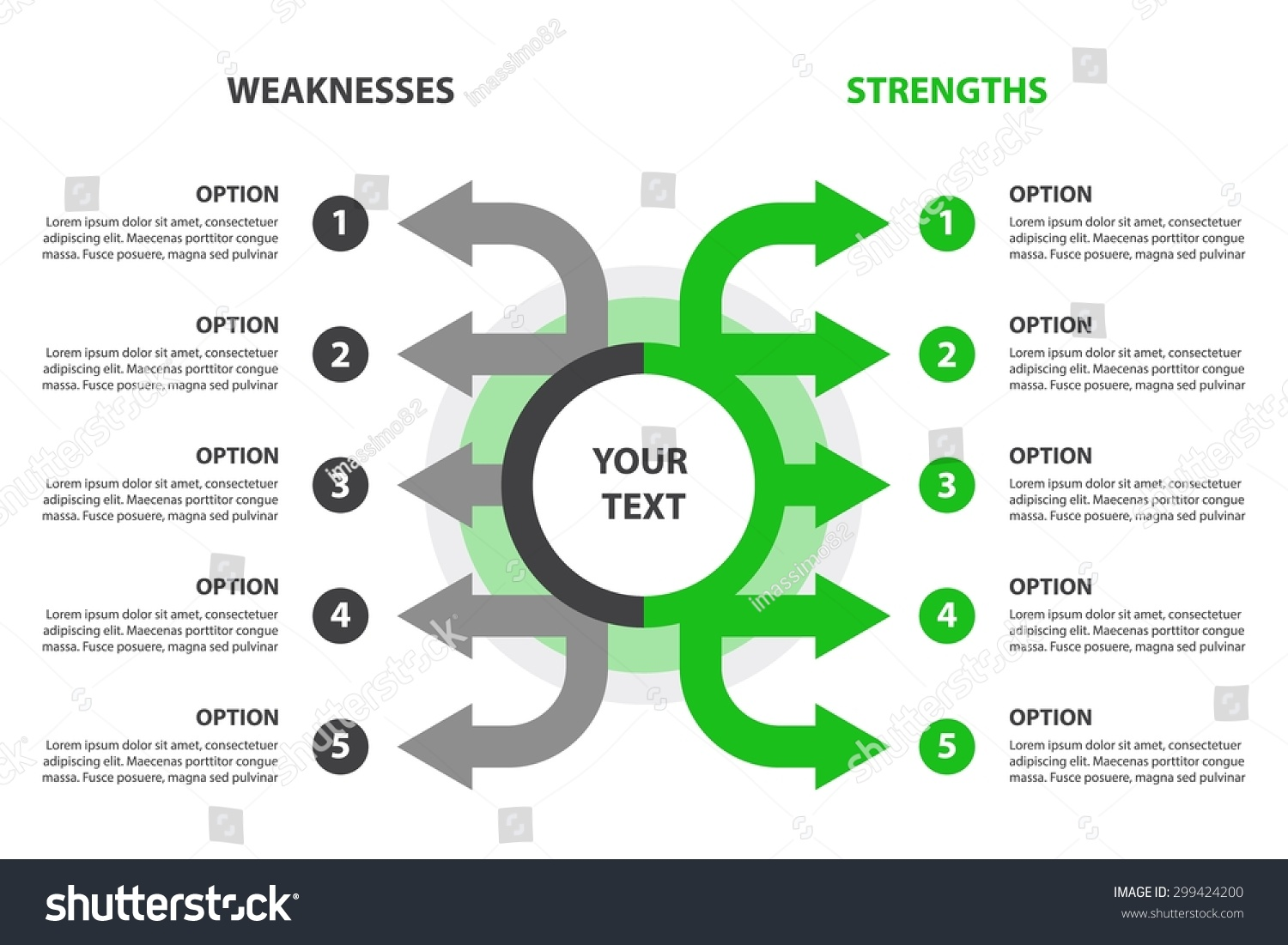 strengths weaknesses swot analysis design element stock vector strengths and weaknesses swot analysis design element 5 grey and green arrows template