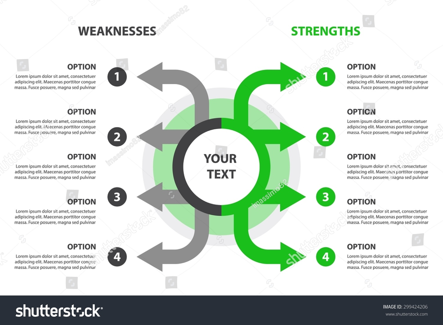 strengths weaknesses swot analysis design element stock vector strengths and weaknesses swot analysis design element 4 grey and green arrows template