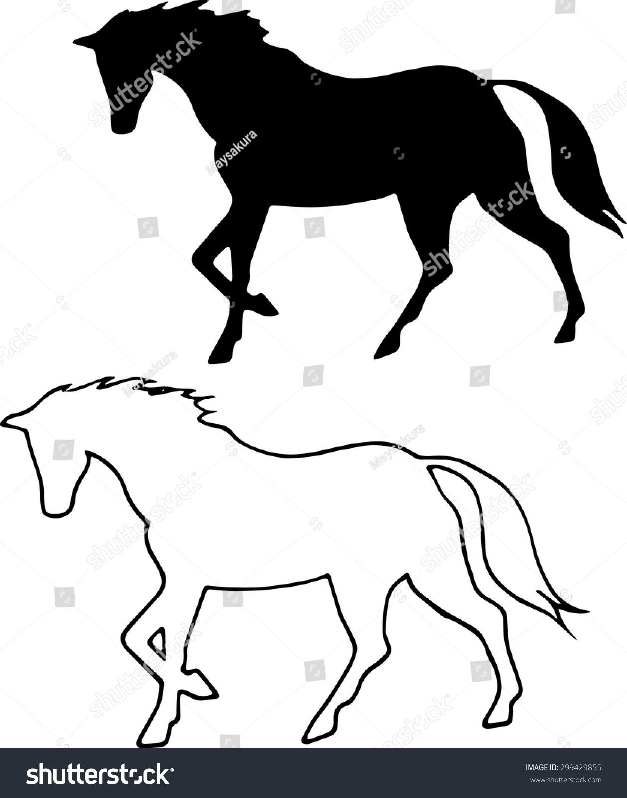 Vector Black Horse Silhouette Walking Horse Stock Vector Royalty Free 299429855