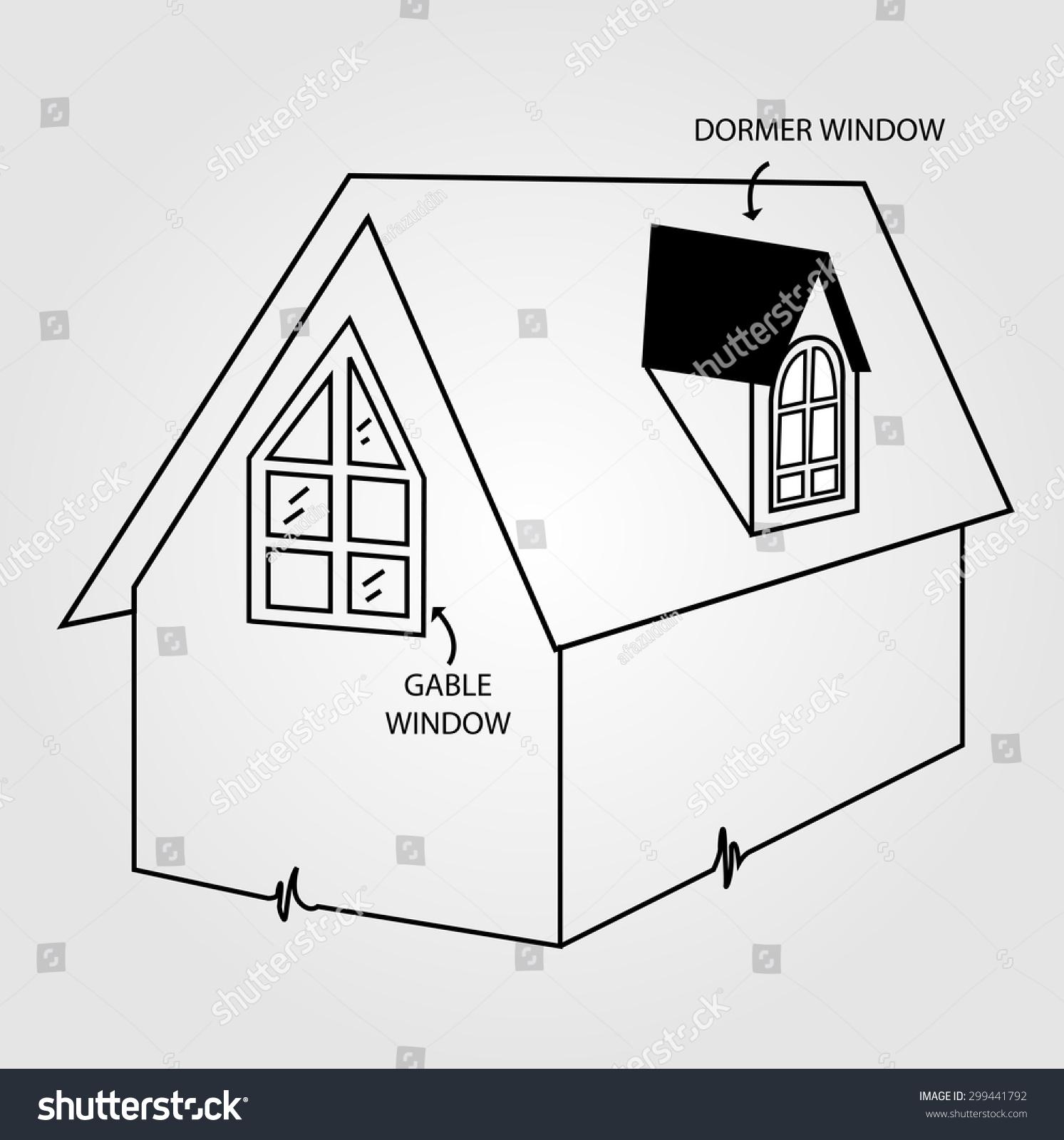 Windows Roof Attic Software Diagram Radio Wiring Diagrams Dormer Gable Window Stock Vector Royalty Free 299441792 Rh Shutterstock Com Ventilation Framing
