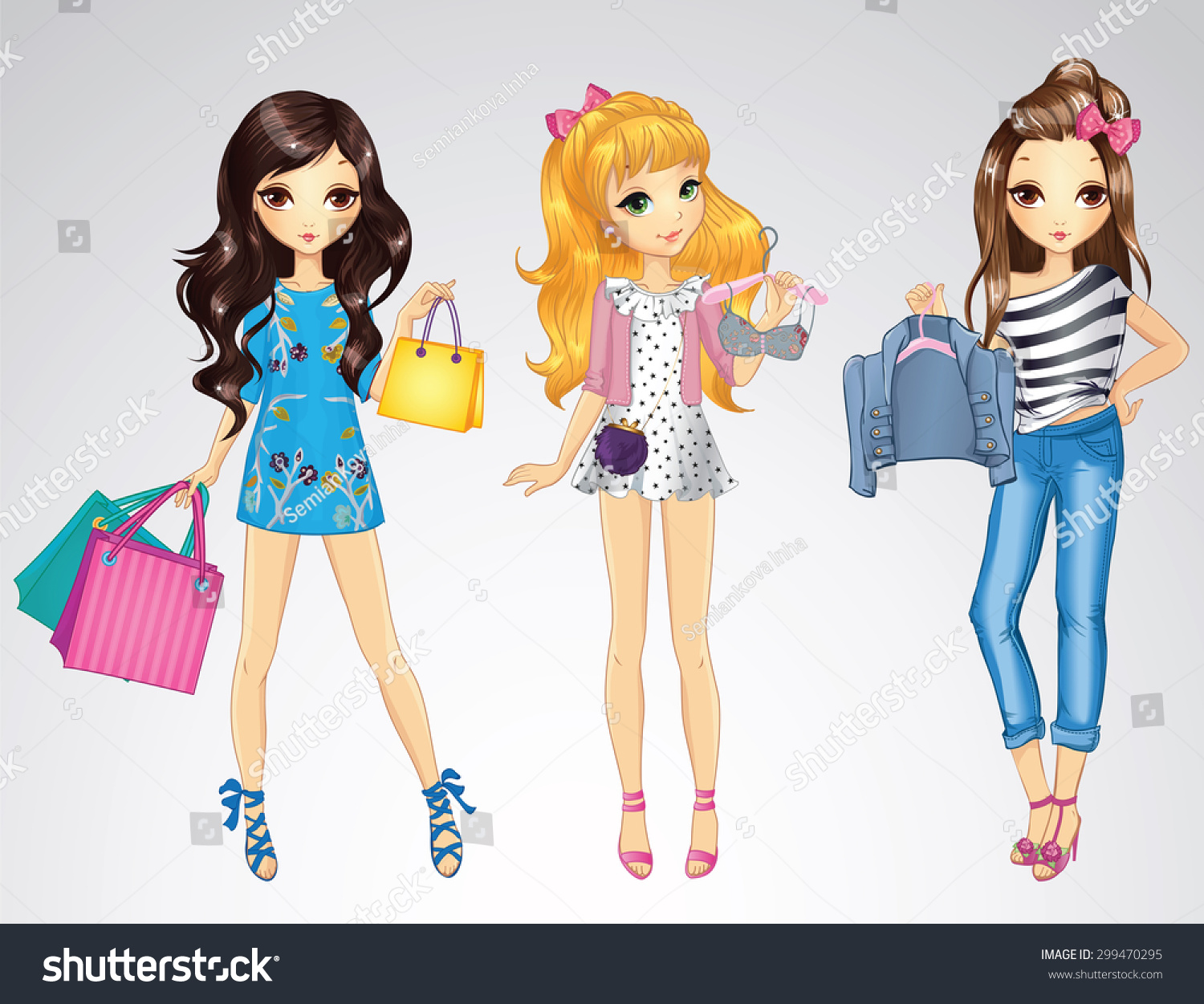 Fashion style shopping girls
