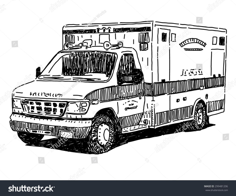 ambulance car vector drawing stock vector 299481206