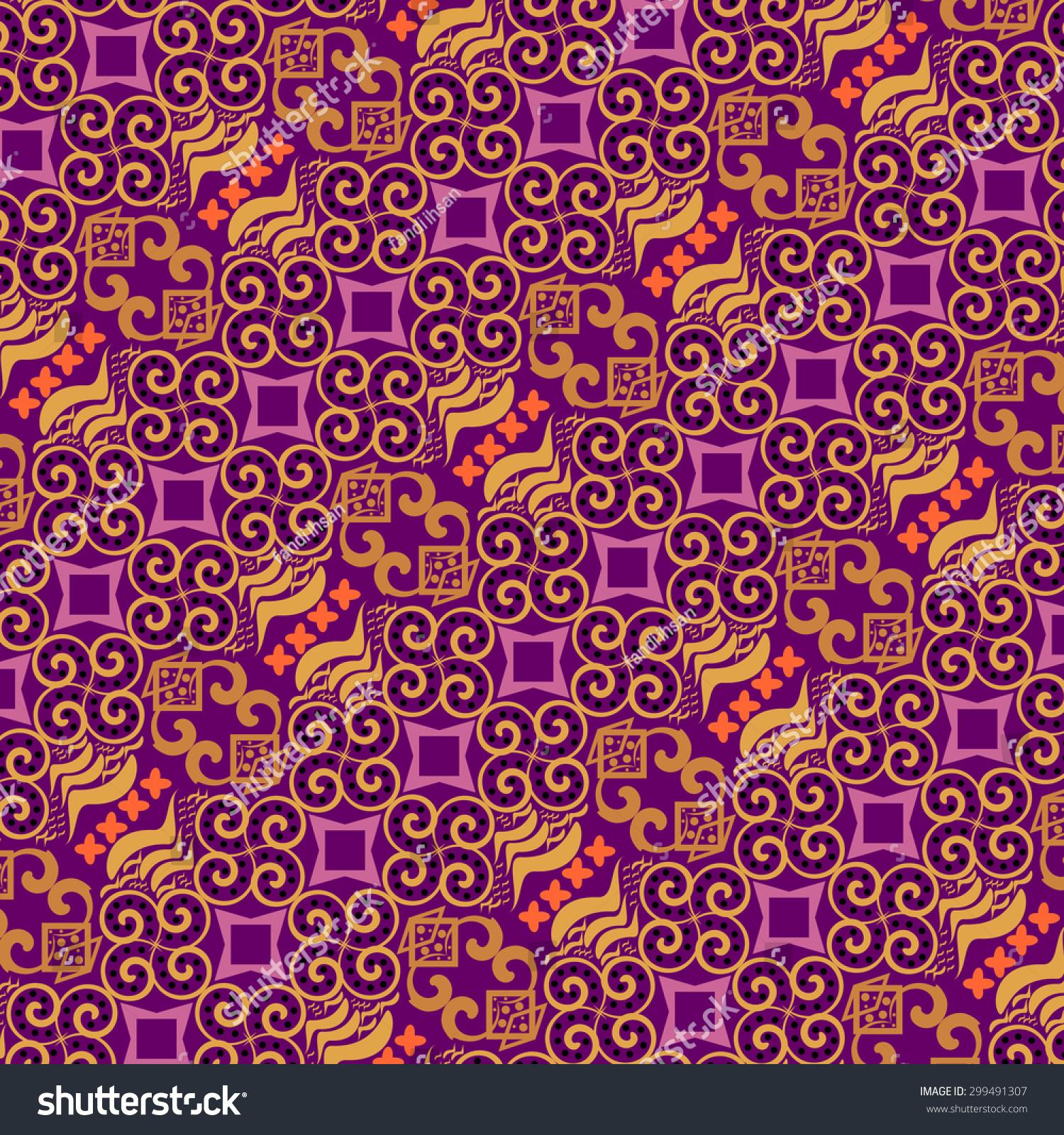 Purple Batik Indonesia Purple Batik Pattern Stock Vector