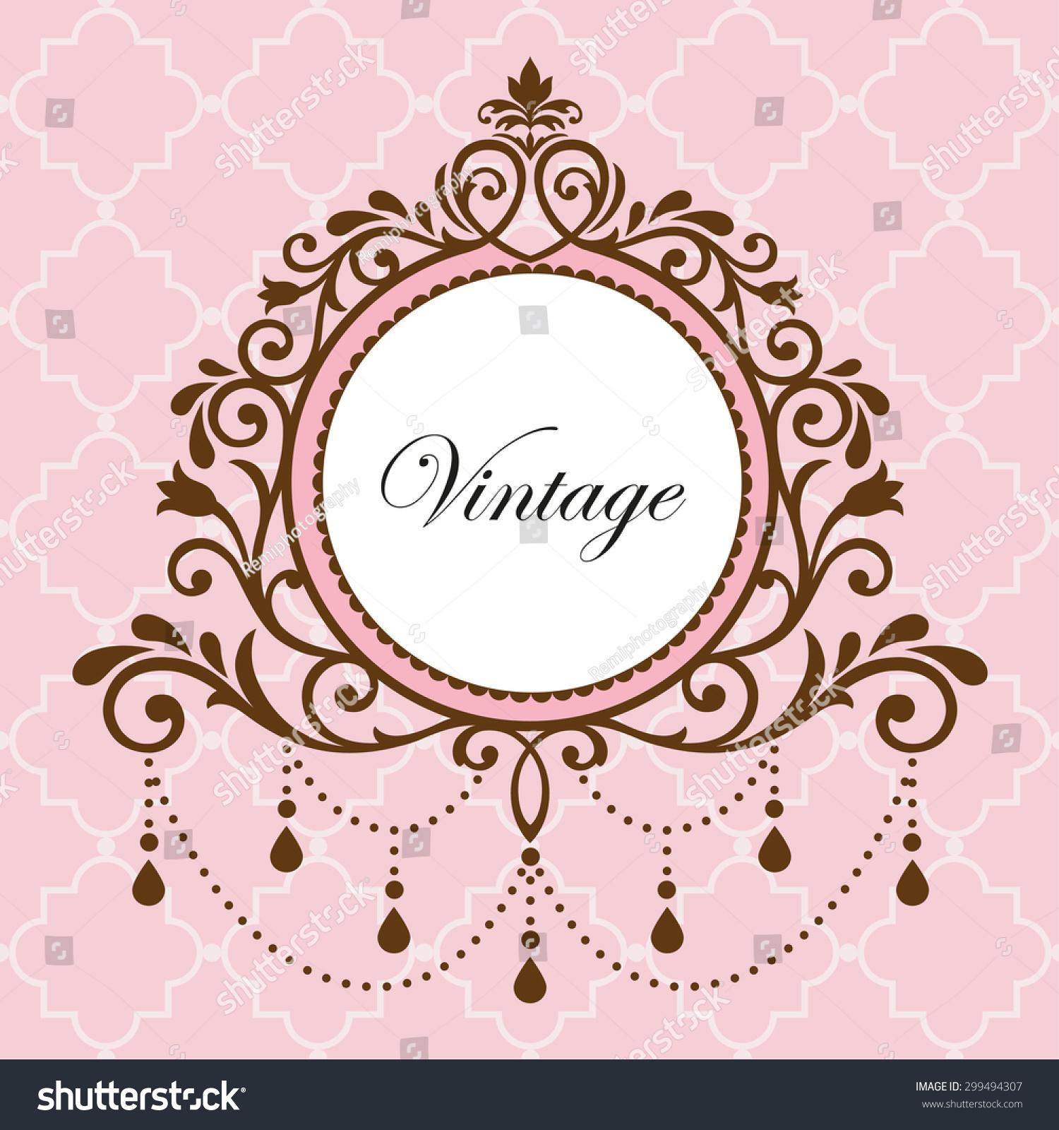 Chandelier vintage border frame on pink stock vector 299494307 chandelier vintage border frame on pink background arubaitofo Image collections