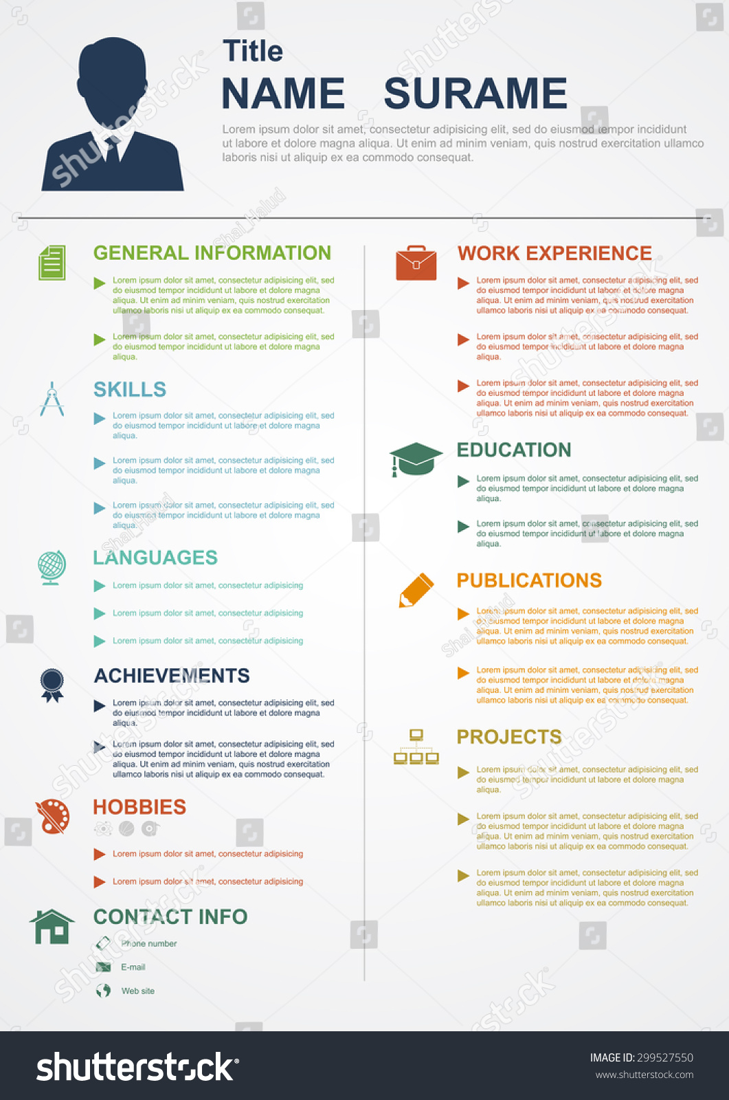 infographic template with icons for cv personal profile resume organization