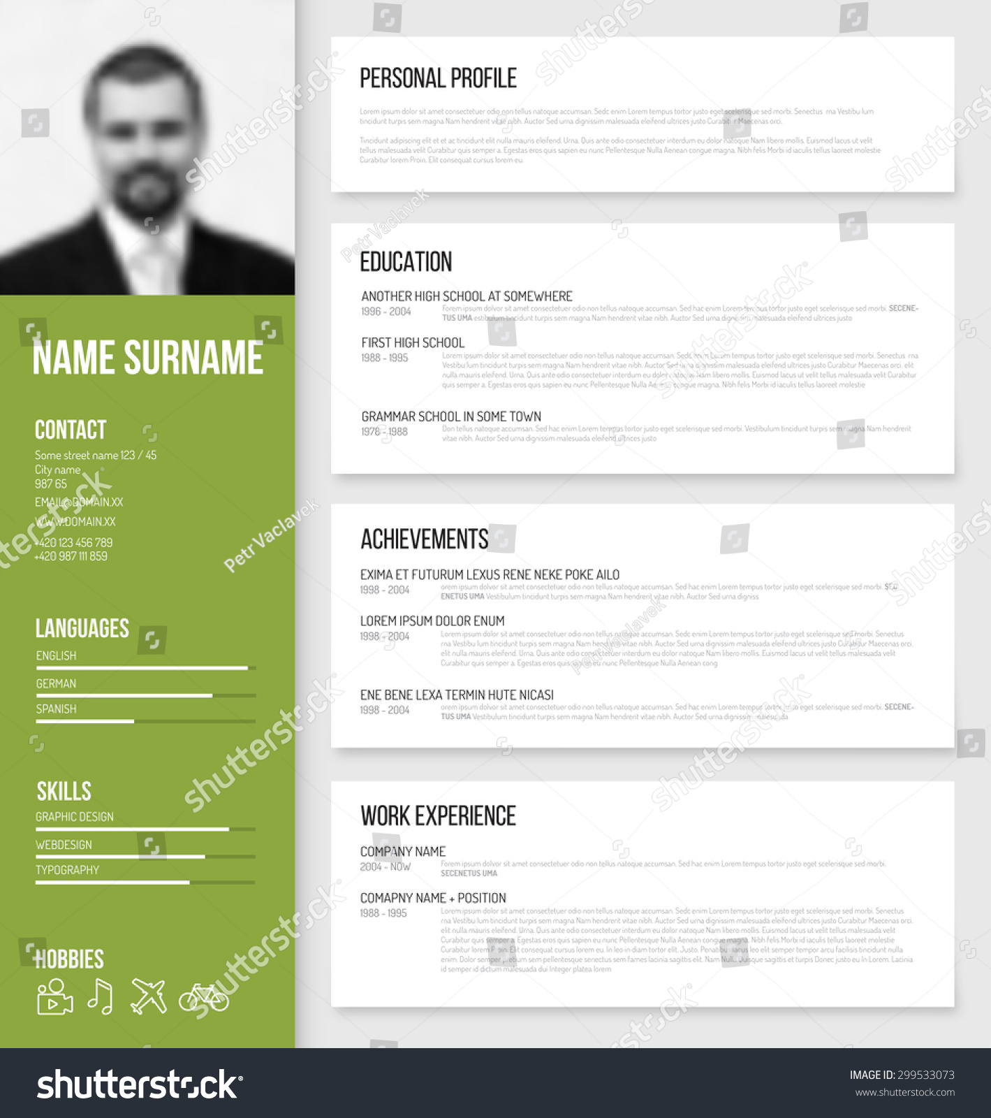 vector minimalist cv resume template design stock vector 299533073