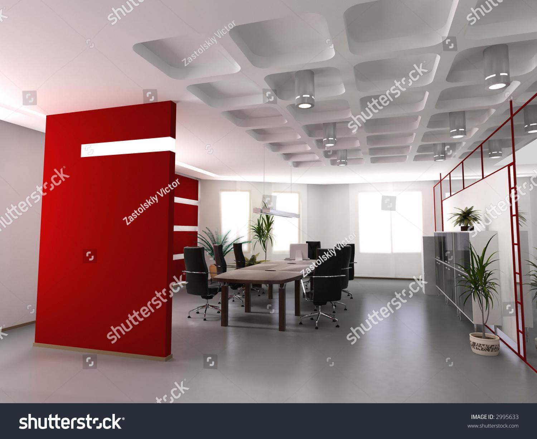Modern office interior design 3d render stock photo for Home design 3d professional italiano gratis