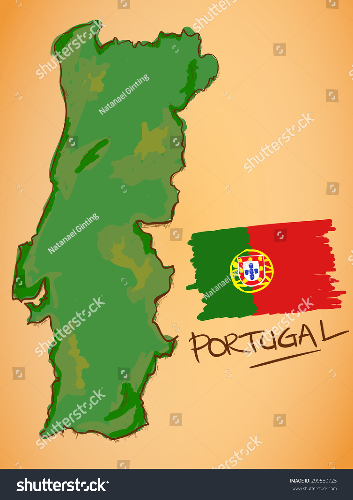 Portugal Map National Flag Vector Stock Vector - Portugal map flag