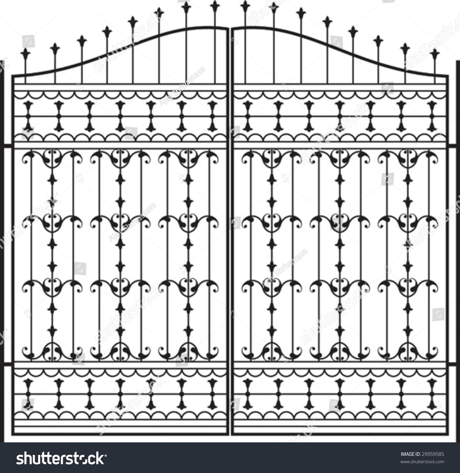 Wrought Iron Gate Door Fence Window Stock Vector 29959585