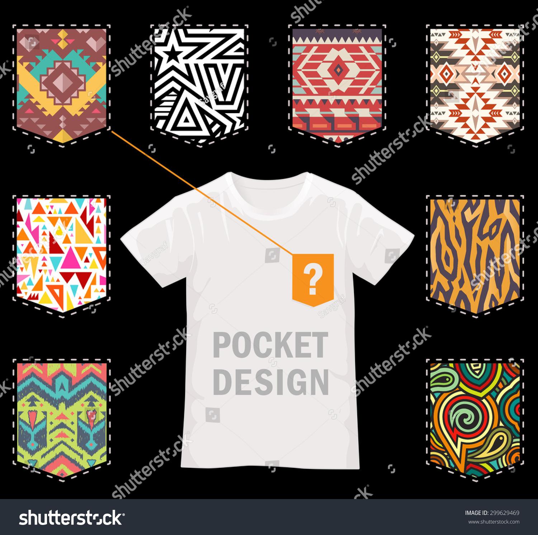 Shirt design vector pack - Set Of Vector Patterns For Pocket Design On Black Stylish Textures For Modern T