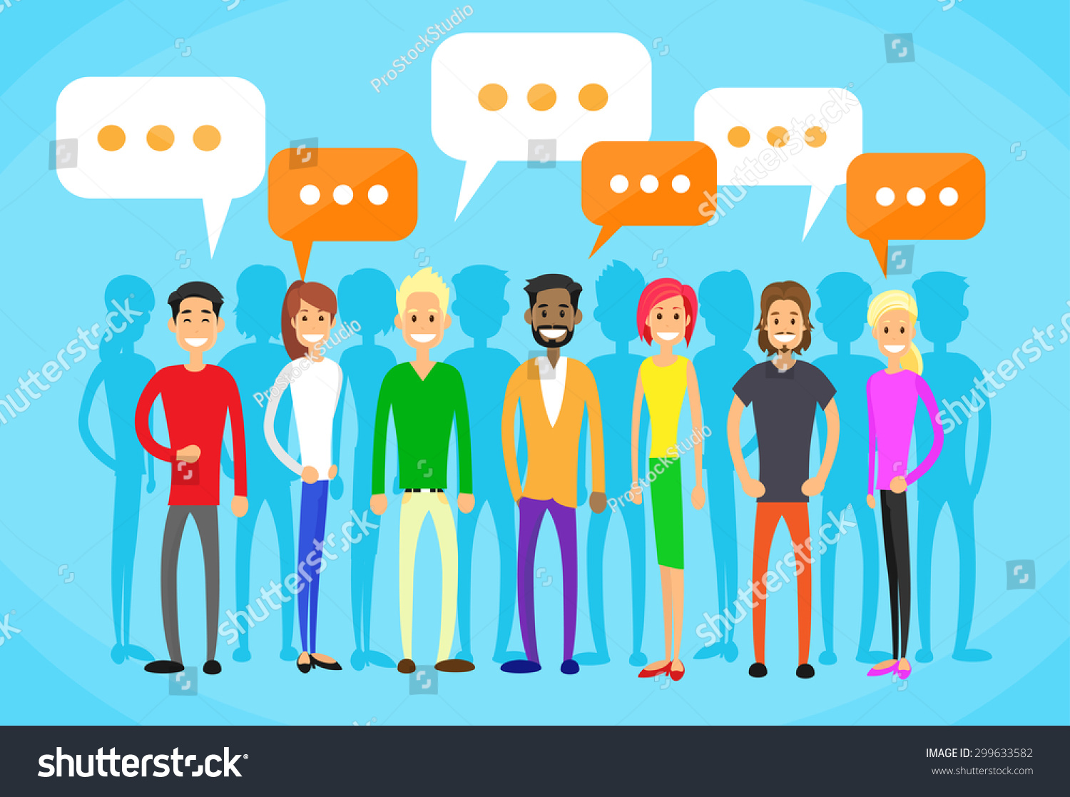 People Group Chat Social Network Communication Stock Vector ...