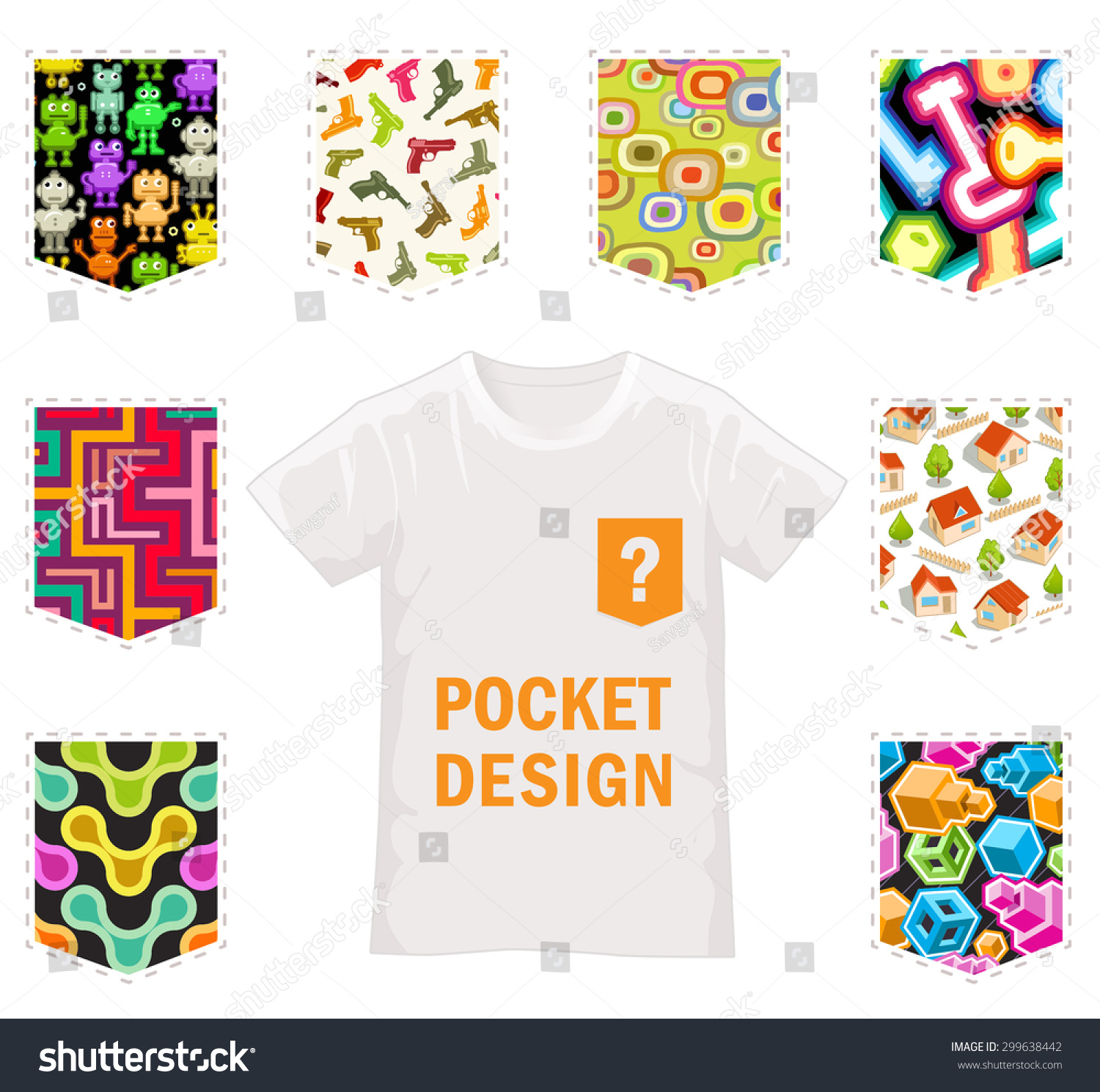 Design t shirt with pocket - Set Of Vector Samples For Pocket Design Isolated Textures For T Shirt Design