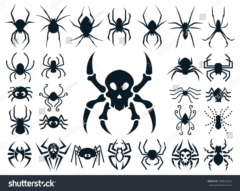 set spider shapes different styles natural stock vector 299641655 shutterstock. Black Bedroom Furniture Sets. Home Design Ideas