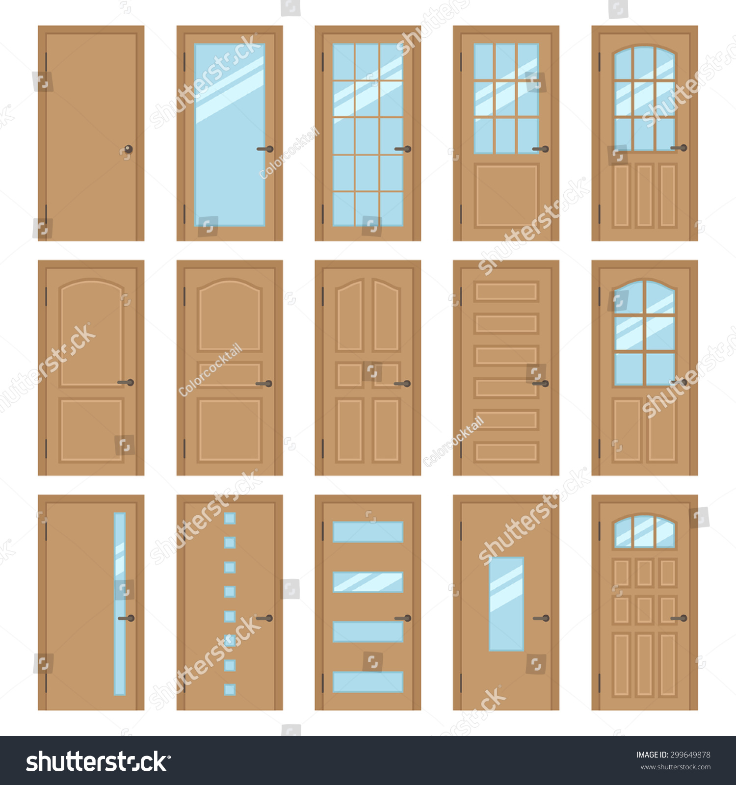 Vector collection various types wooden interior stock for Different types of interior doors