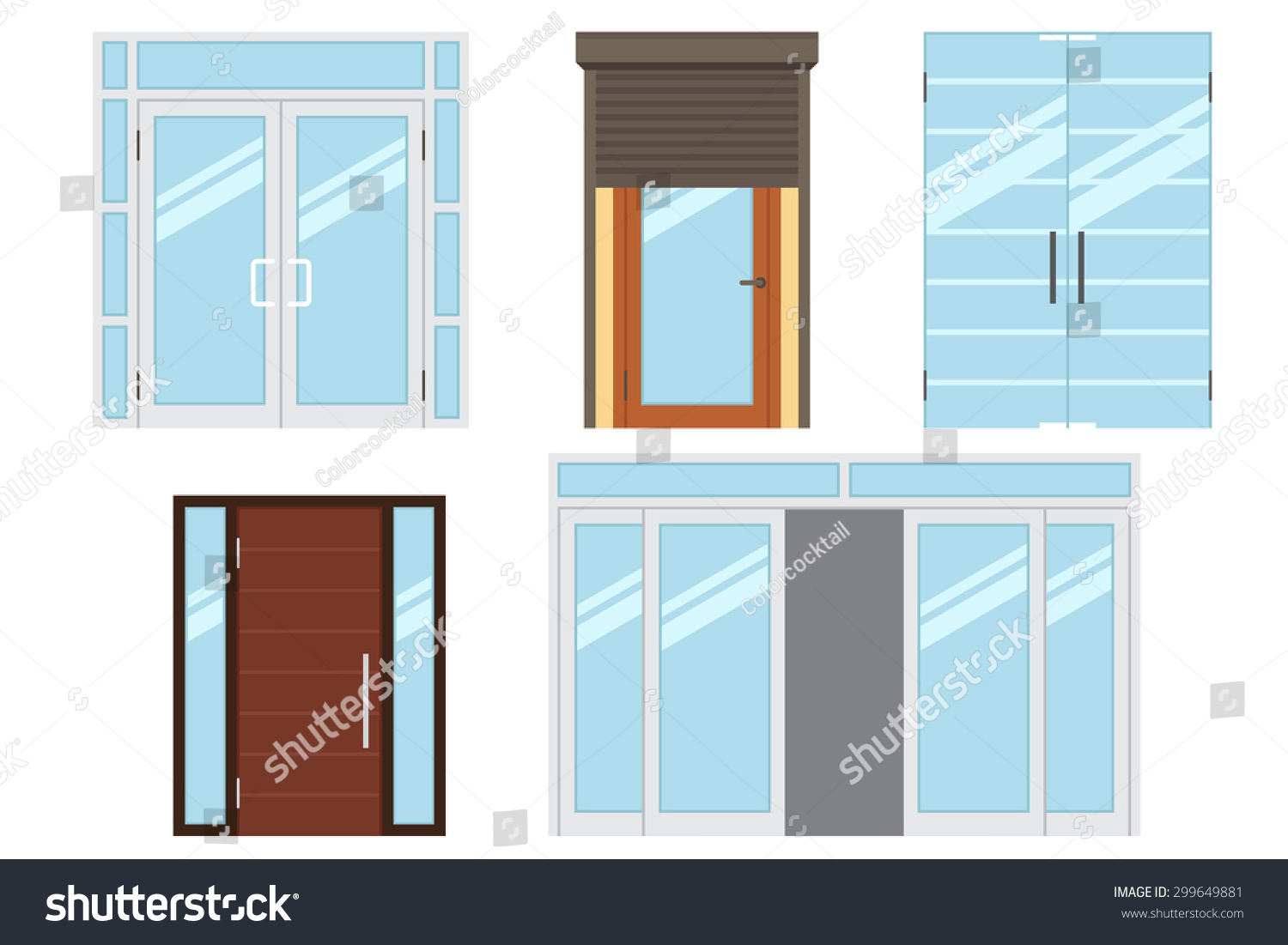 Vector collection of various types of modern entrance doors for office home store mall shop - Types doors consider home ...