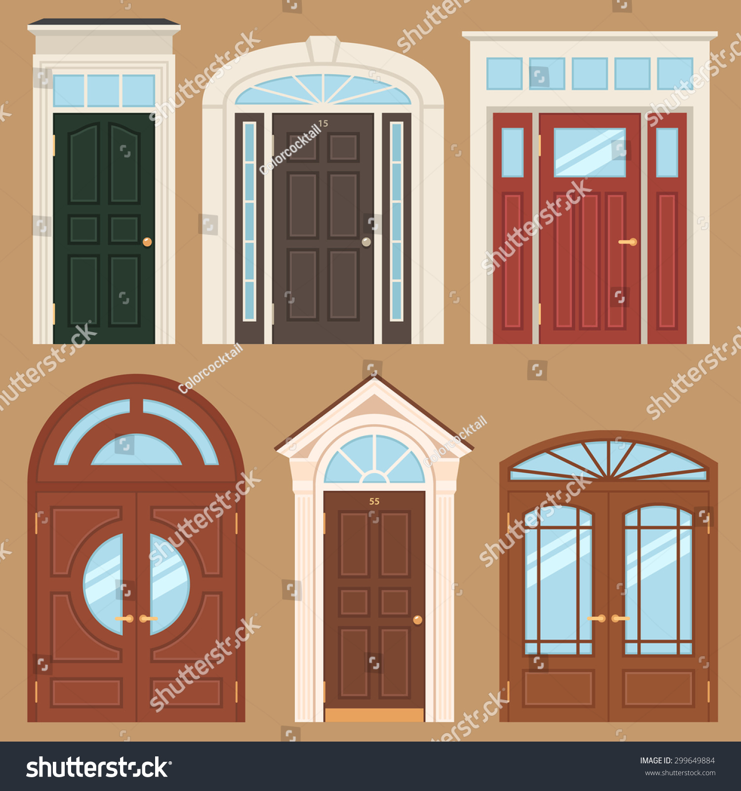 Vector Collection Various Types Classic Wooden Stock Vector HD ...