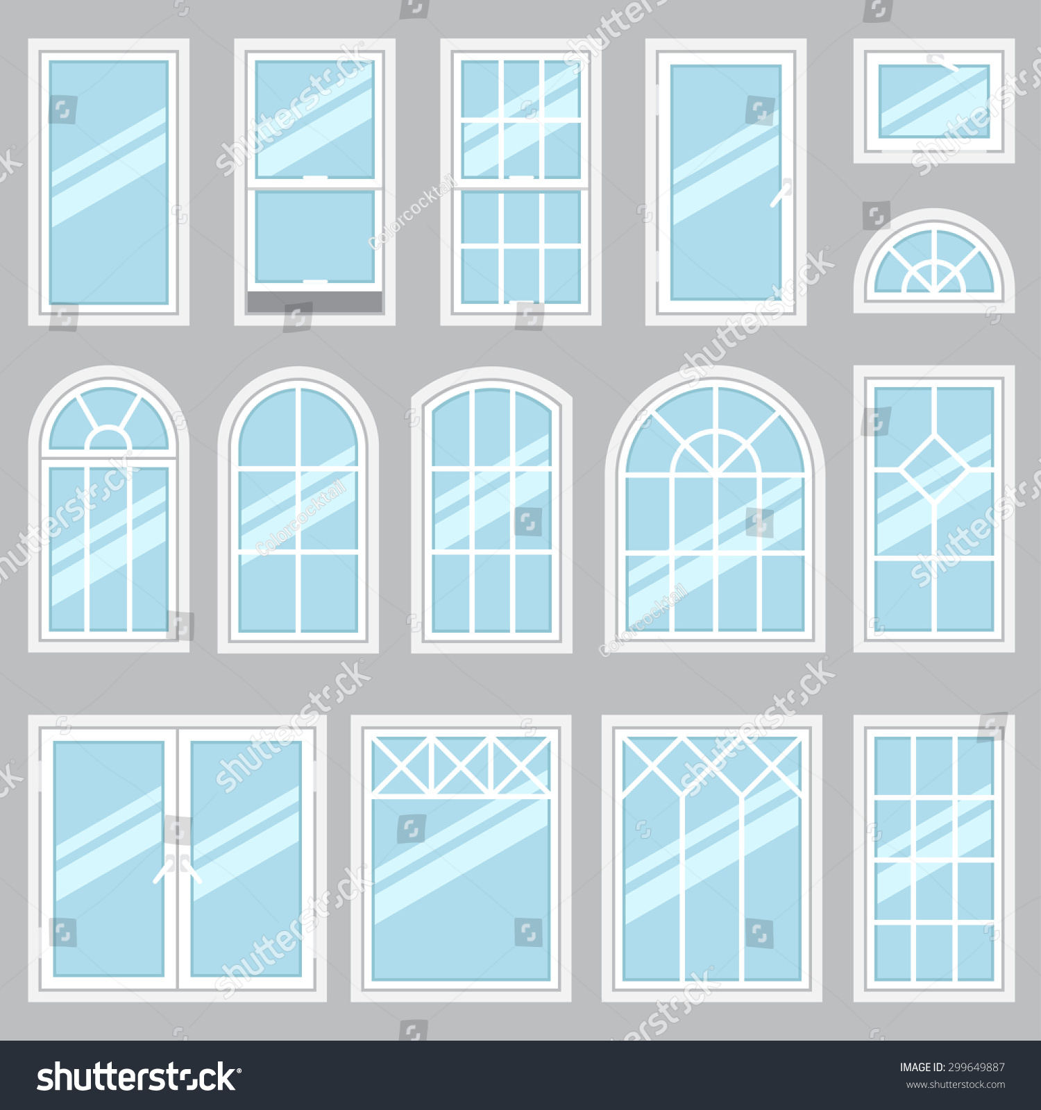 Vector collection of various windows types. For interior and exterior use. Flat style.