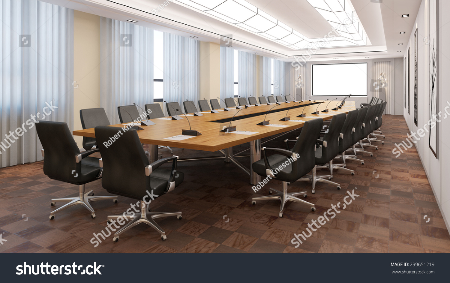 Elegant Business Conference Room With Table And Chairs D Rendering - Elegant conference table
