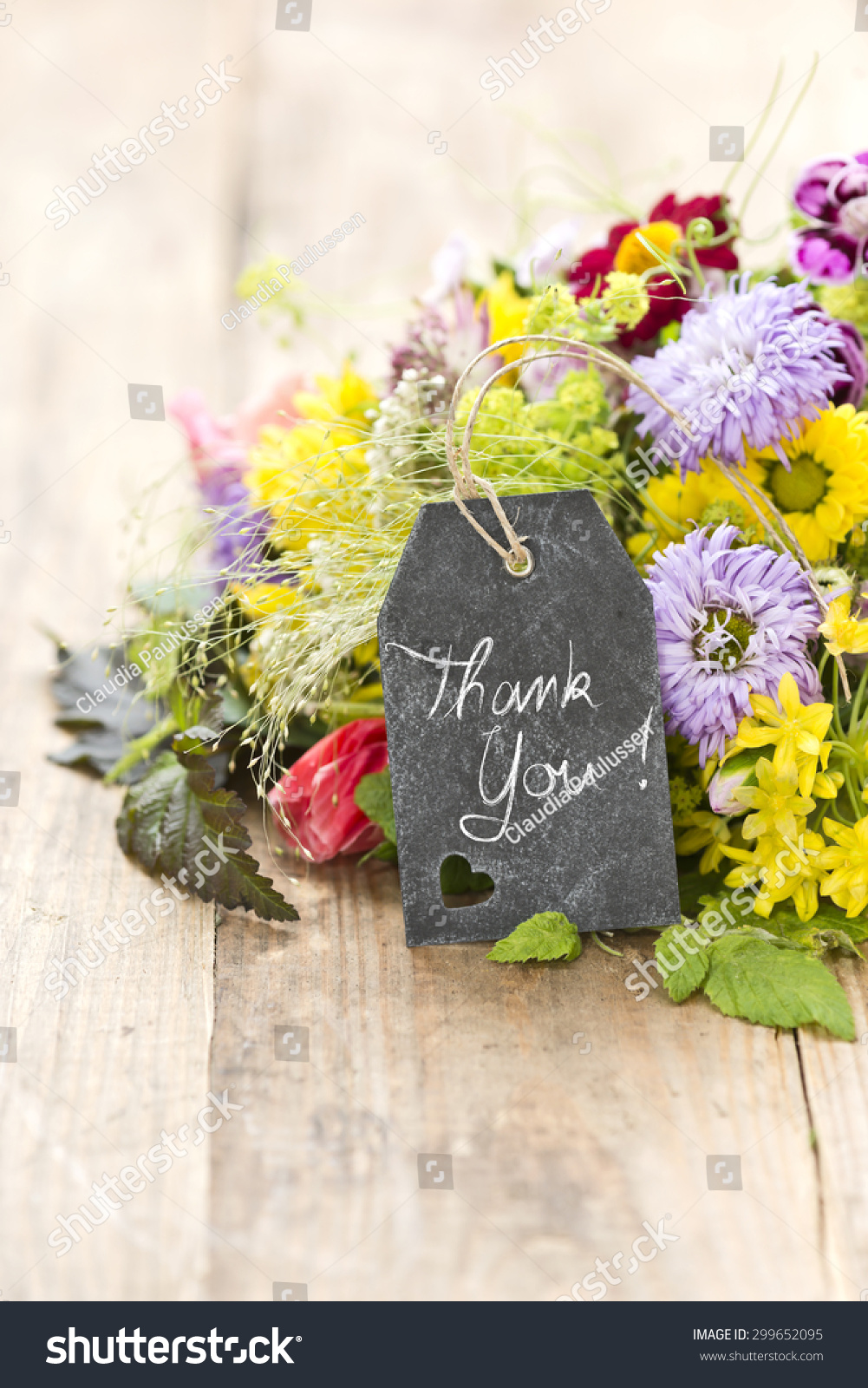 Bouquet Flowers Tag Saying Thank You Stock Photo (Royalty Free ...